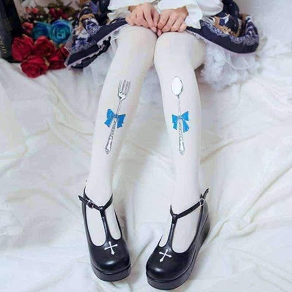 leggycozy Stocking [leggycozy] Japanese Sweet Velvet Folk and Spoon Printed Pantyhose Stockings