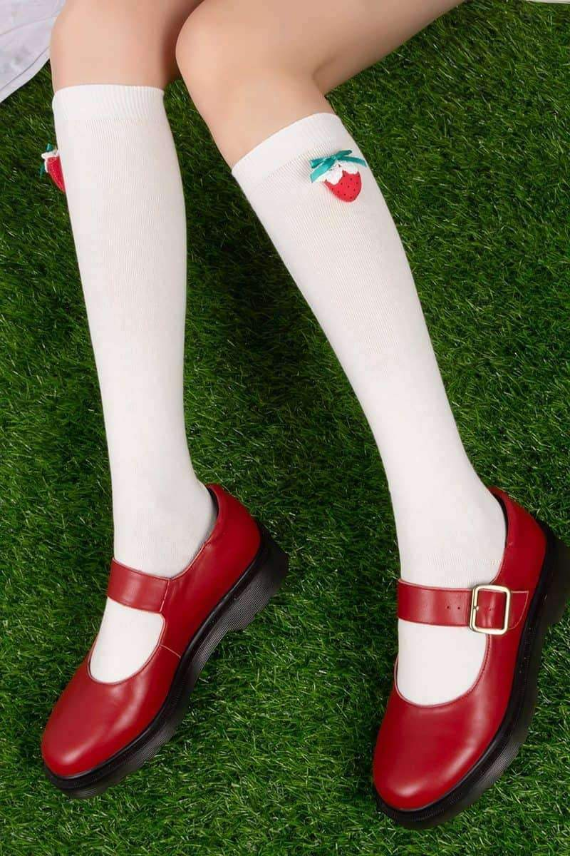 leggycozy Stocking [leggycozy] Kawaii Sweet Preppy Style Strawberry Decoration Thin Stockings