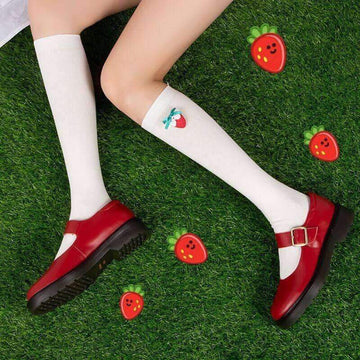 [leggycozy] Kawaii Sweet Preppy Style Strawberry Decoration Thin Stockings