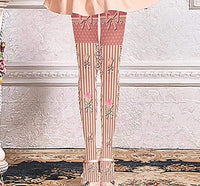 leggycozy Stocking [leggycozy] Premium Bow Knot Flowers Print Pantyhose Tights Stockings