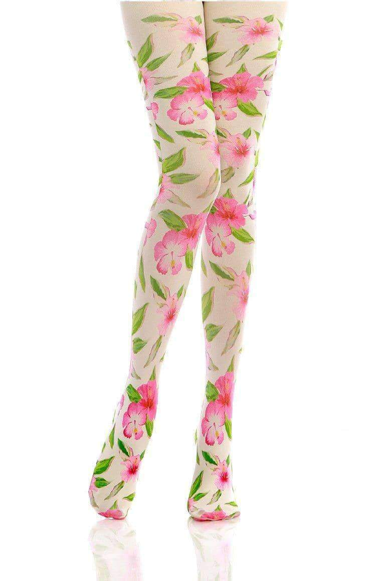 [leggycozy] Princess Sweet Big Pink Flower Pattern Pantyhose Stockings