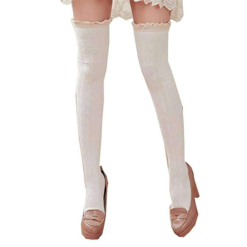 [leggycozy] Thigh High Over The Knee Laced Cuff Crochet Trim Cotton Stockings