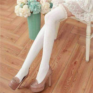 Open image in slideshow, [leggycozy] Thigh High Over The Knee Laced Cuff Crochet Trim Cotton Stockings