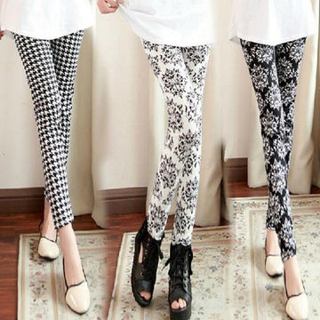 [leggycozy] Fashion Floral Pattern & Black White Stripes Casual Leggings