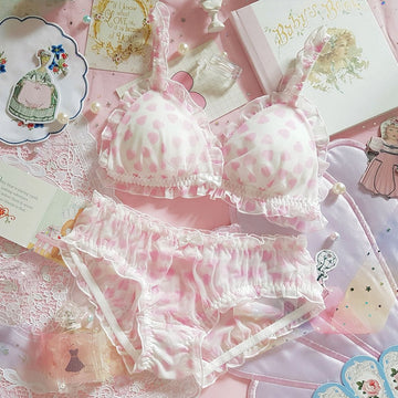 [leggycozy] Japanese Kawaii Princess Cute Heart Heart Flouncing Sheer Bra Set