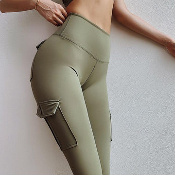 [leggycozy] Elegant Breathable Polyester Candy Color Leggings with Pockets