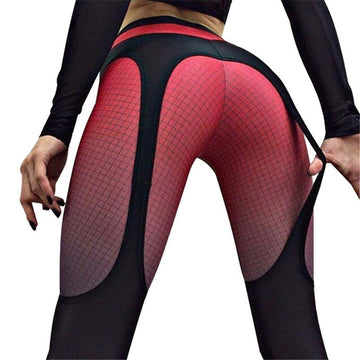 [leggycozy] Stitching Slim Fitness Leggings with Color Grid Print
