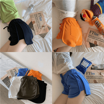 [leggycozy] All-match Loose Waistband Solid Color Soft Cotton Casual Shorts