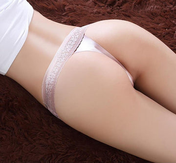 [leggycozy] Sexy Embroidered Flowers String Lace Transparent Ice Silk Seamless Thongs Panties