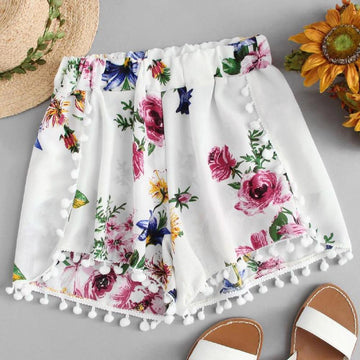 [leggycozy] Elegant Floral Pattern White Shorts with Tassel