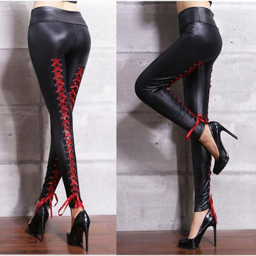 [leggycozy] Sexy Lace Up PU Leather Black Gothic Leggings