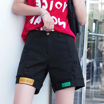 [leggycozy] Retro Fashion Letter High Waist Casual Rolled Shorts -Plus Size