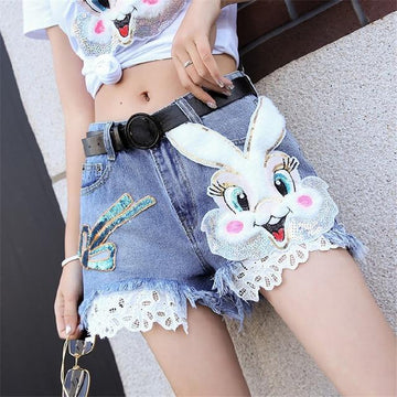 [leggycozy] Korean Style Cute Bunny Cartoon Lace Patchwork Wide-Leg Jeans Shorts