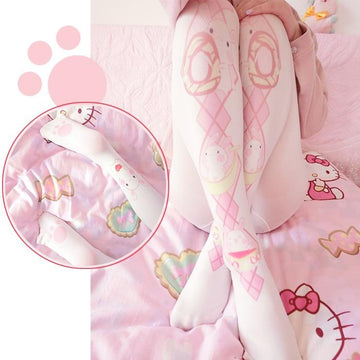 [leggycozy] Japanese Kawaii Cartoon Rabbit Print Pantyhose Soft Velvet Stockings