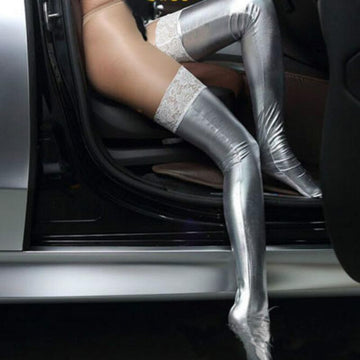[leggycozy] Clubwear Metal Shinny Glitter Thigh High PU Leather Stockings