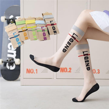 [leggycozy] Letter Print Transparent Knee High Thin Cool Socks