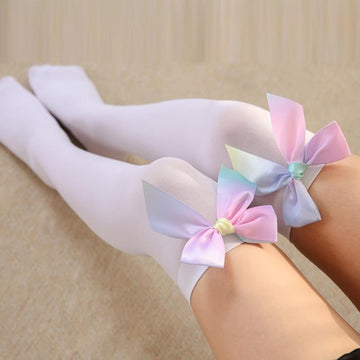 [leggycozy] Lovely Rainbow Color Bow Tie Over the Knee Stockings -Black White Pink