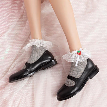 [leggycozy] Japanese Lovely Sweet Lace Bow Knot Strawberry Cotton Socks