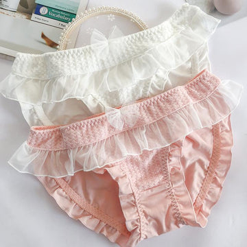 [leggycozy] Japanese Pure Color Fairy Sweet Mesh Bow Knot Ruffles Panties