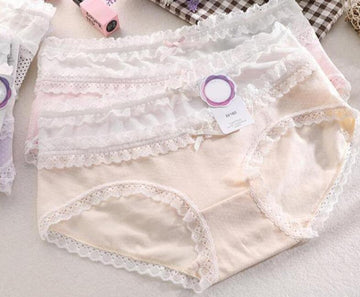 [leggycozy] (3pcs/lot) Sweet Lovely High Waist Lace Ruffle Cotton Panties
