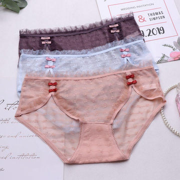 [leggycozy] Lovely Bow Knot Sheer Lace Mesh Breathable Seamless Panties