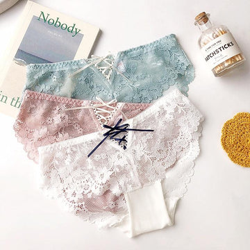 [leggycozy] French Style Floral Mesh Lace Cross Bandage Elegant Seamless Panties