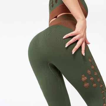 [leggycozy] Sexy Sporty High Waist Hollow Stripes Seamless Gym Leggings