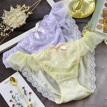 [leggycozy] Japanese Elegant Flower Embroidery Bow Knot Lace Trim Milk Silk Panties
