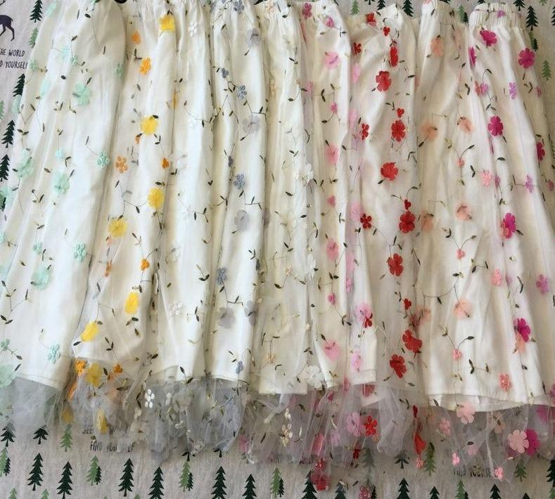 [leggycozy] Lovely Sweet Candy Colors 3D Flower Embroidery Lace Mesh Tulle Pleated Skirt leggycozy