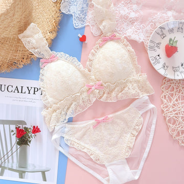 [leggycozy] Japanese Lovely Retro Bow Knot Lace Embroidery Bra Set