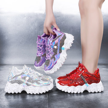[leggycozy] Women Fashion Platform Glitter Bling Vulcanized Breathable Chunky Sneakers