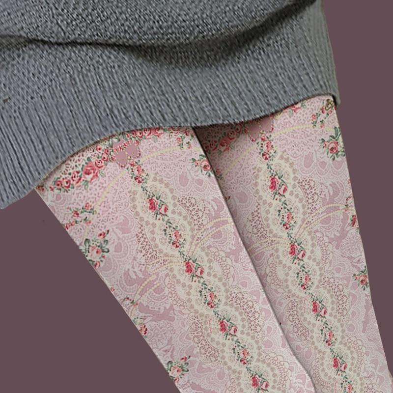 [leggycozy] Elegant Vintage Girly Floral Lace Pattern Pantyhose Stockings leggycozy