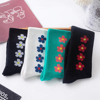 [leggycozy] Korean Style Pink FLOWER Cotton Socks leggycozy