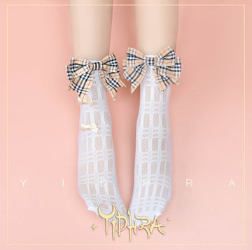 [leggycozy] Sweet Princess Multicolor Plaid 3 Bowknots Socks