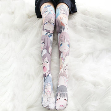 [leggycozy] Kawaii Anime Cartoon Printed Velvet Cosplay Stockings