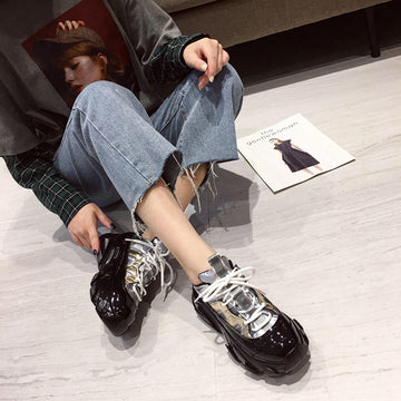 [leggycozy] Women's Punk Style Glitter Silver PU Leather Platform Chunky Sneakers