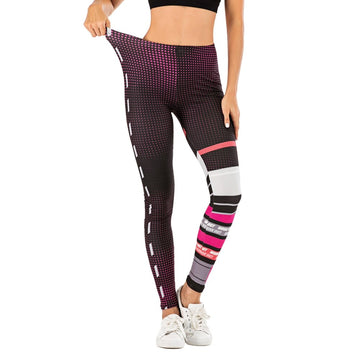 [leggycozy] Fashion Stitching Print Mid Waist Leggings