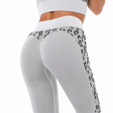 [leggycozy] Sexy Leopard Patchwork High Waist Seamless Gym Leggings