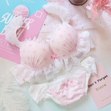[leggycozy] Sweet Lovely Strawberry Embroidery Lace Trim Underwire Soft Pink Bra & Panties Set