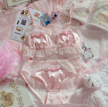 [leggycozy] Lovely Japanese Pink Bow Lace Trim Soft Cotton Bra & Panties Set