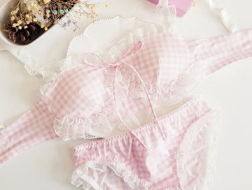 [leggycozy] Kawaii Lovely Plaid Check Pattern Seamless Wireless Bra Set