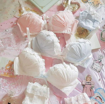 [leggycozy] Japanese Lovely Sweet Vintage Style Lace Trim Wire-Free Cotton Bra Set