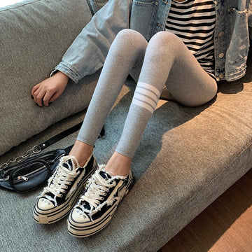[leggycozy] Kawaii Lovely White Stripes Print Black Grey Skinny Ribbed Cotton Leggings