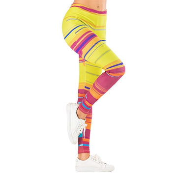 [leggycozy] Cute Colorful Stripes Printing Fitness Leggings