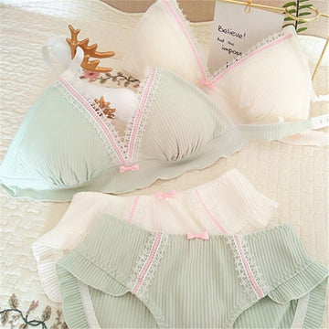 [leggycozy] Kawaii Lovely Wire Free Bow Knot Ribbed Cotton Bra Set