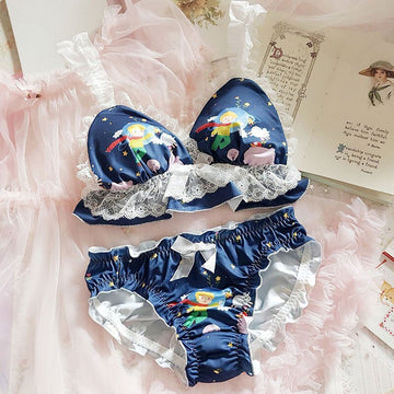 [leggycozy] Japanese Kawaii Cute Little Prince Print Ruffles Lace No-Rims Bra Set