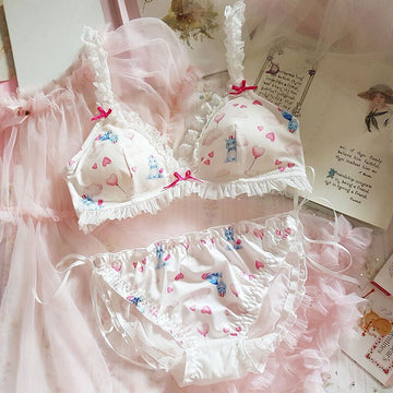 [leggycozy] Kawaii Cute Unicorn Bowknot Laced Ruffles White Bra Set