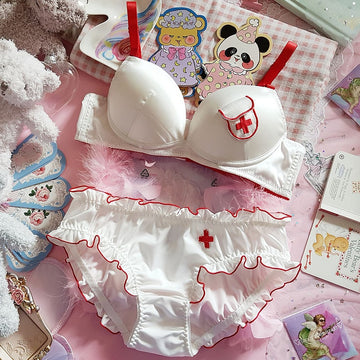 [leggycozy] Japanese Kawaii Sexy Anime Nurse Embroidery Bra Set