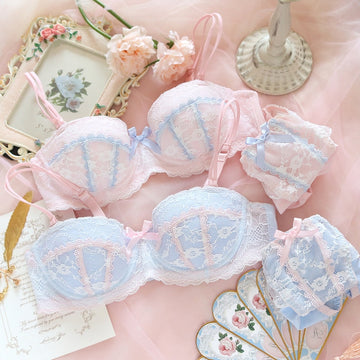 [leggycozy] Japanese Kawaii Cute Pink Blue Floral Lace Trim Bow Knot Bra Set