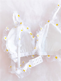 [leggycozy] French Kawaii Daisy Floral Pattern Mesh Lace Thin Wire Free Bra Set